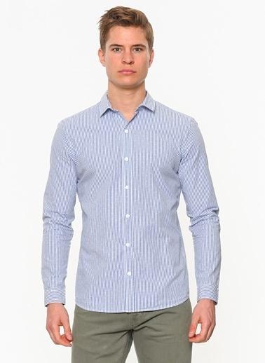 Jakarlı Gömlek-Mavi